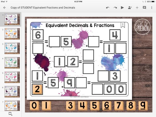 Equivalent Decimals Fractions