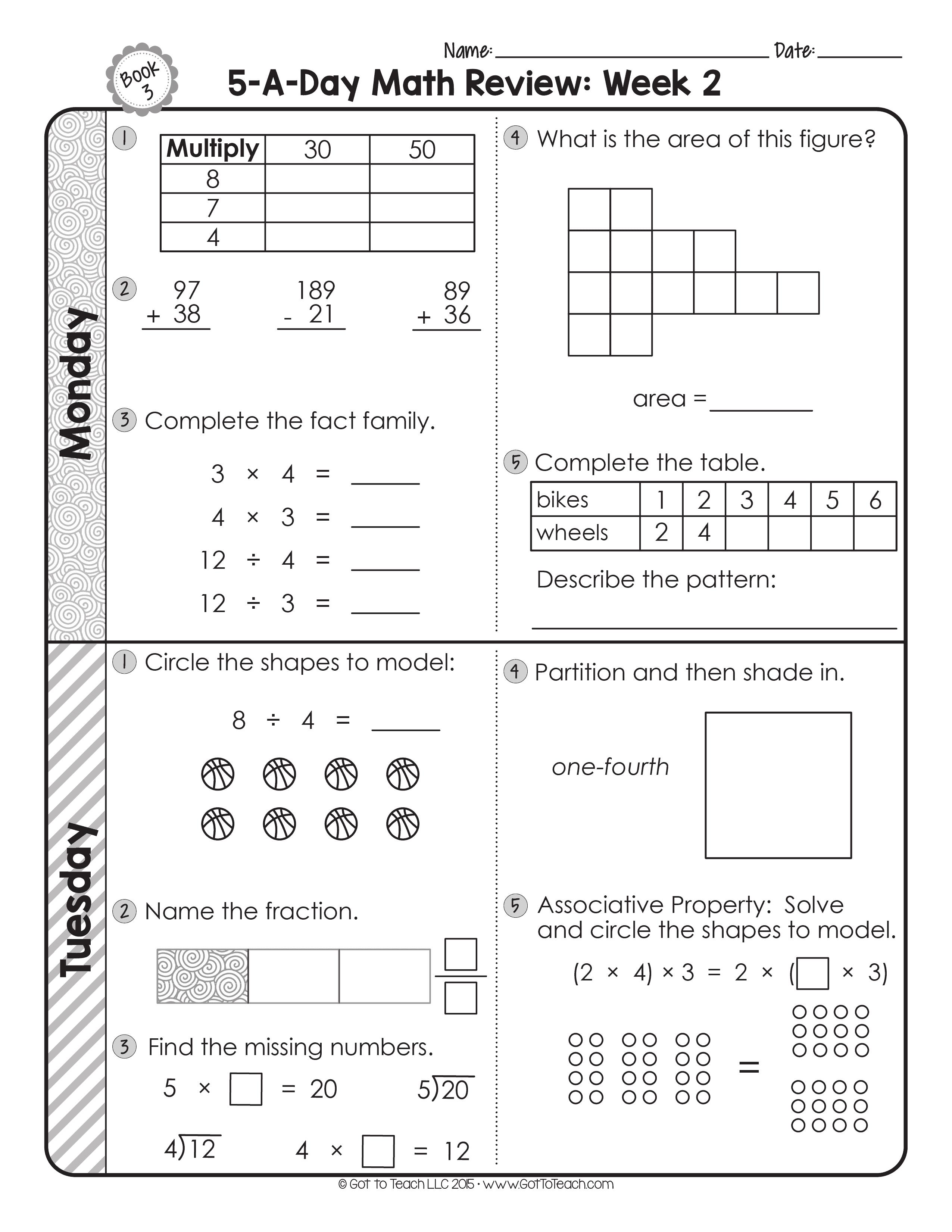 Free 3rd Grade Daily Math Spiral Review Teacher Thrive