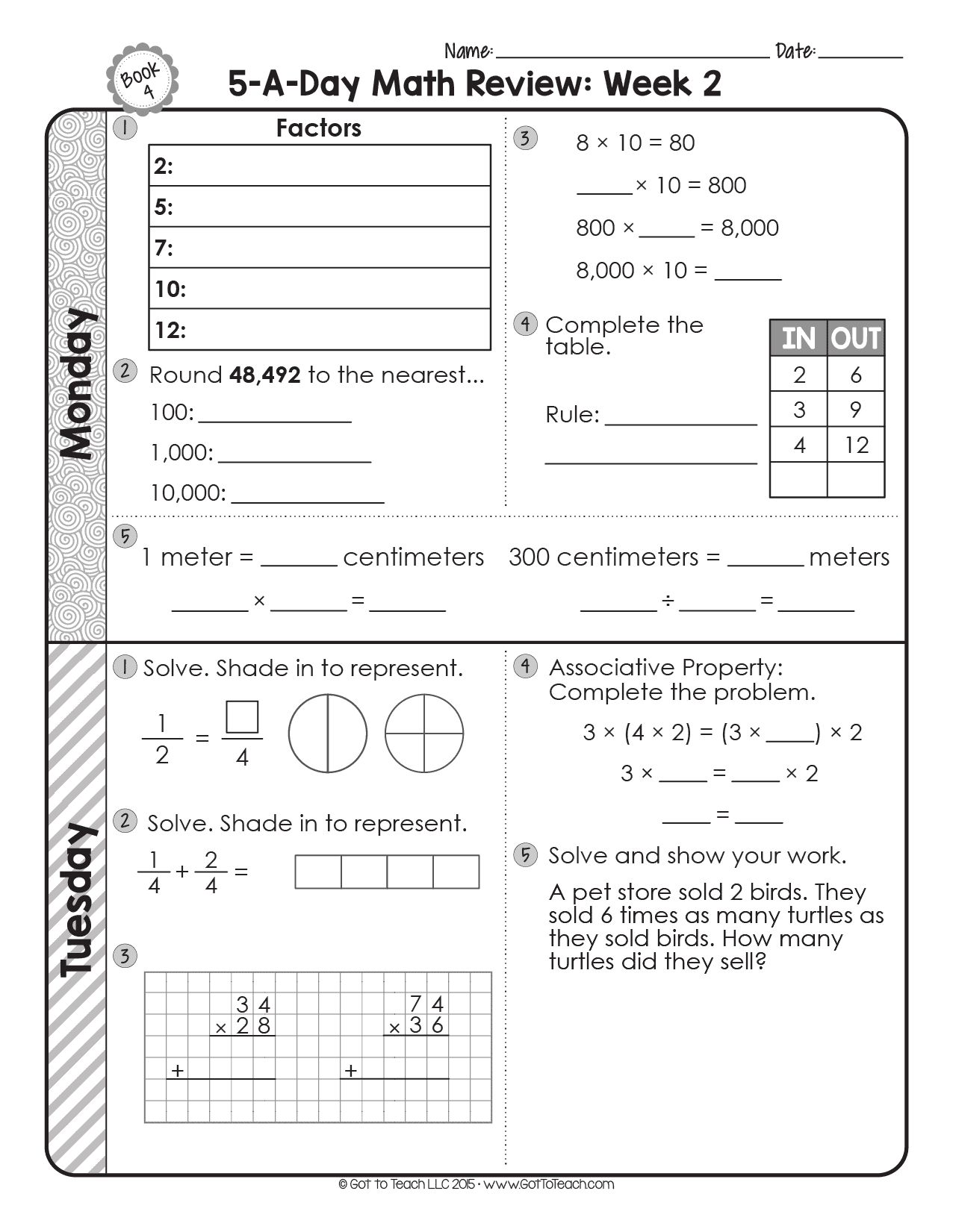 FREE 4th Grade Daily Math Spiral Review • Teacher Thrive