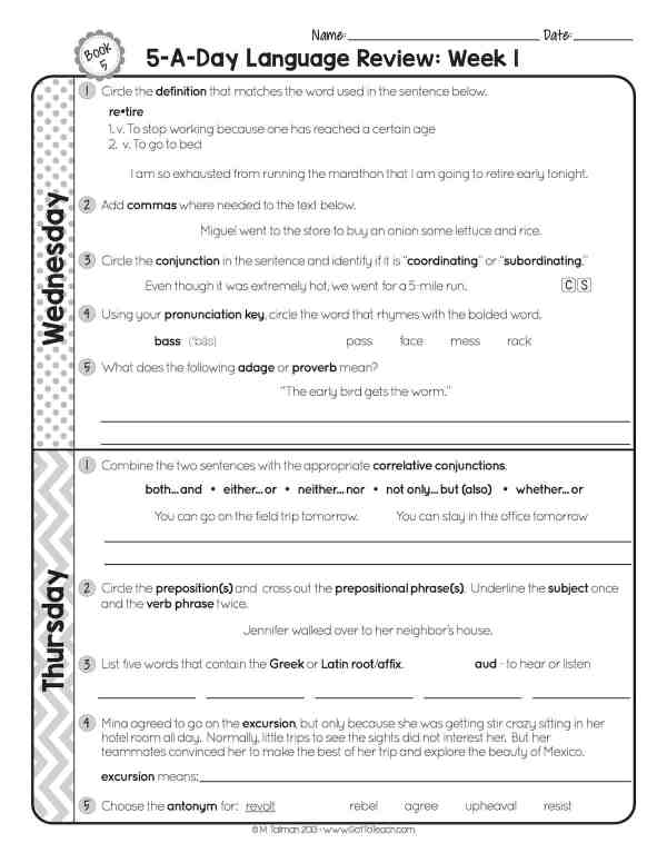 fifth grade daily language review