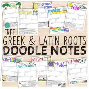 greek and latin root doodle notes