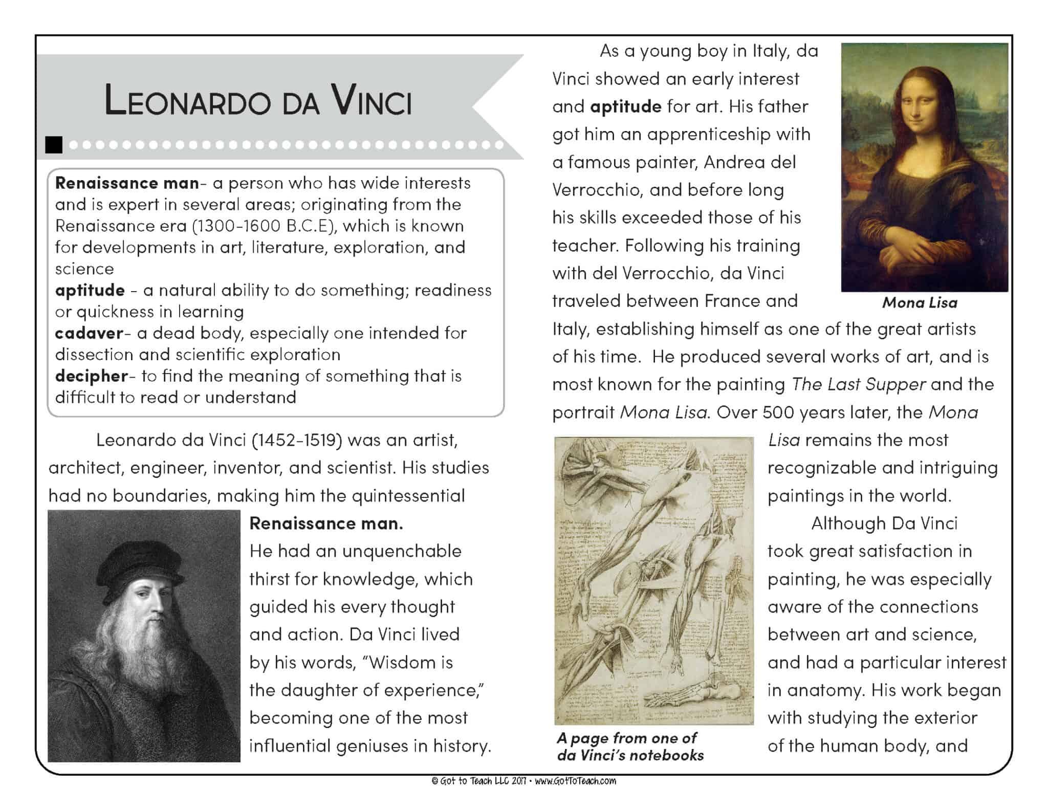 - Close Reading And Fluency Practice: Leonardo Da Vinci