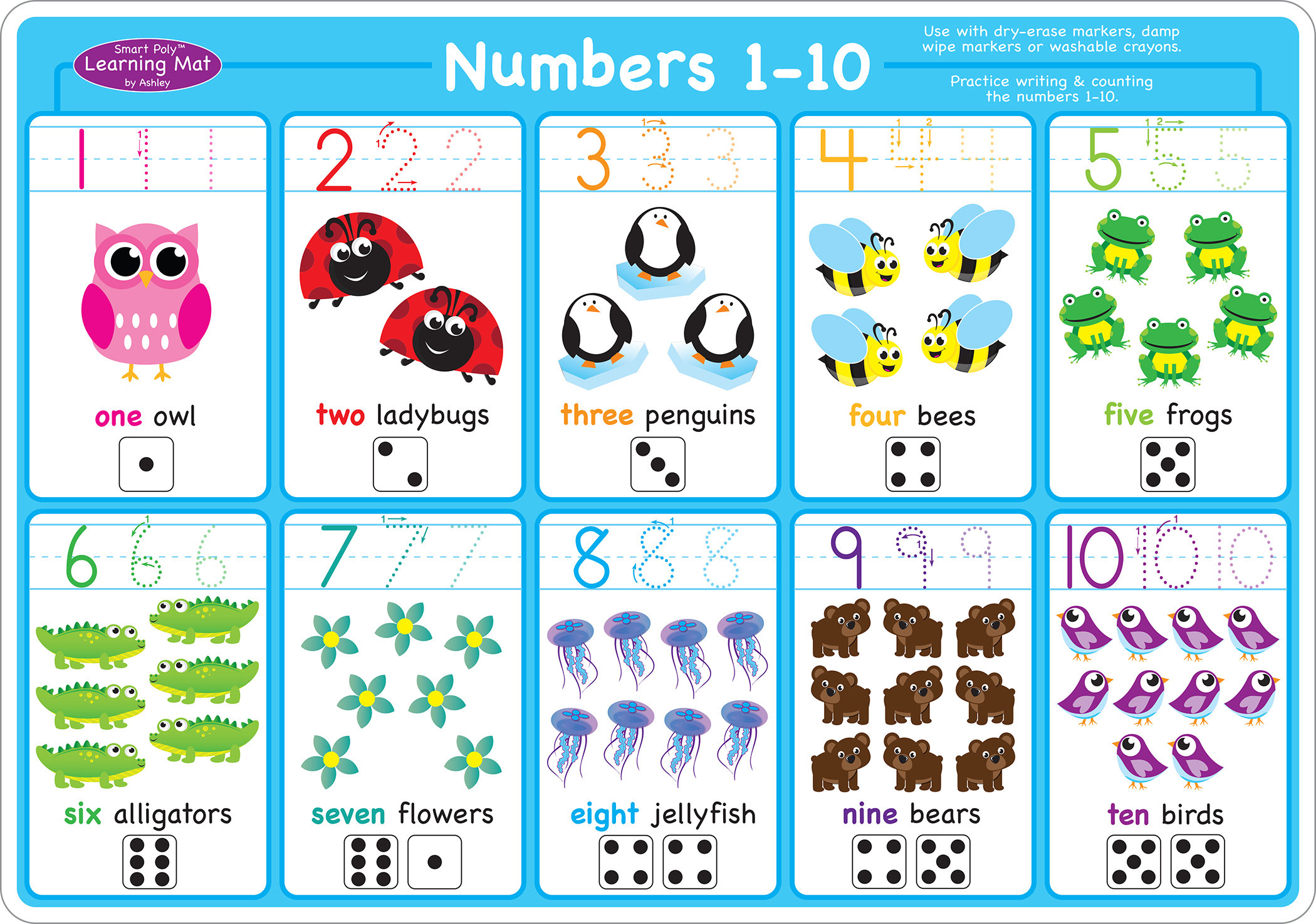Teachertoolsinc Numbers 1 10 Smart Poly Learning Mat