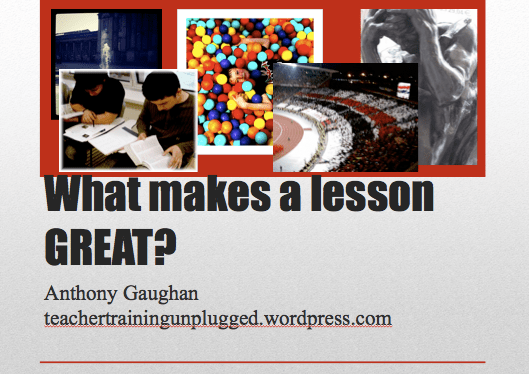 What Makes a Lesson GREAT? - Presentation cover slide