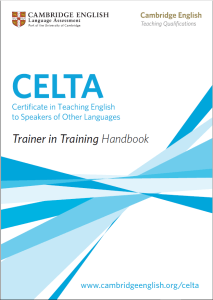 image of Cambridge Assessment Celta Trainer in training Handbook cover