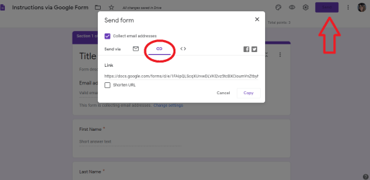 Google Forms to make Lessons - share with students