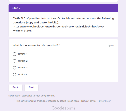 Student View Google Forms in the classroom- to make Lessons