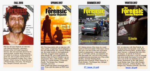 Tons of resources available from forensic teacher magazine