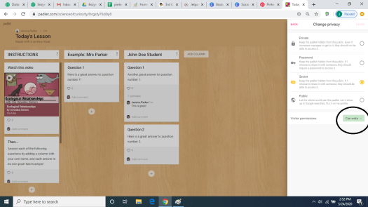 Settings for your Padlet Distance Learning