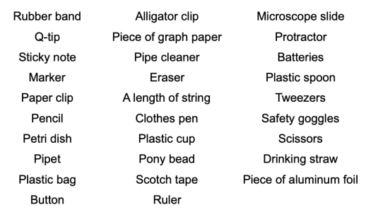 List of Radom objects to review the cell parts!