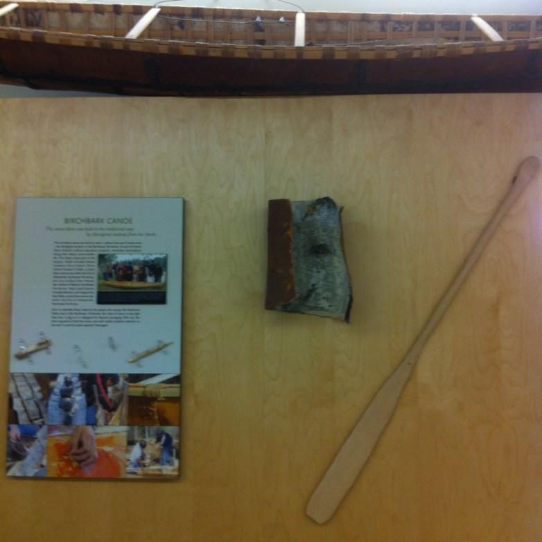 This birchbark canoe was built by students with the help of community elders. It now hangs in the main foyer of the school.