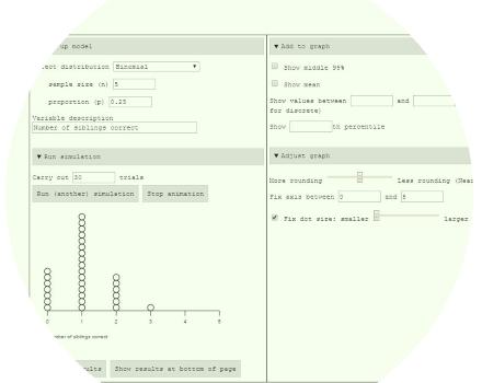 Probability teaching ideas using simulation