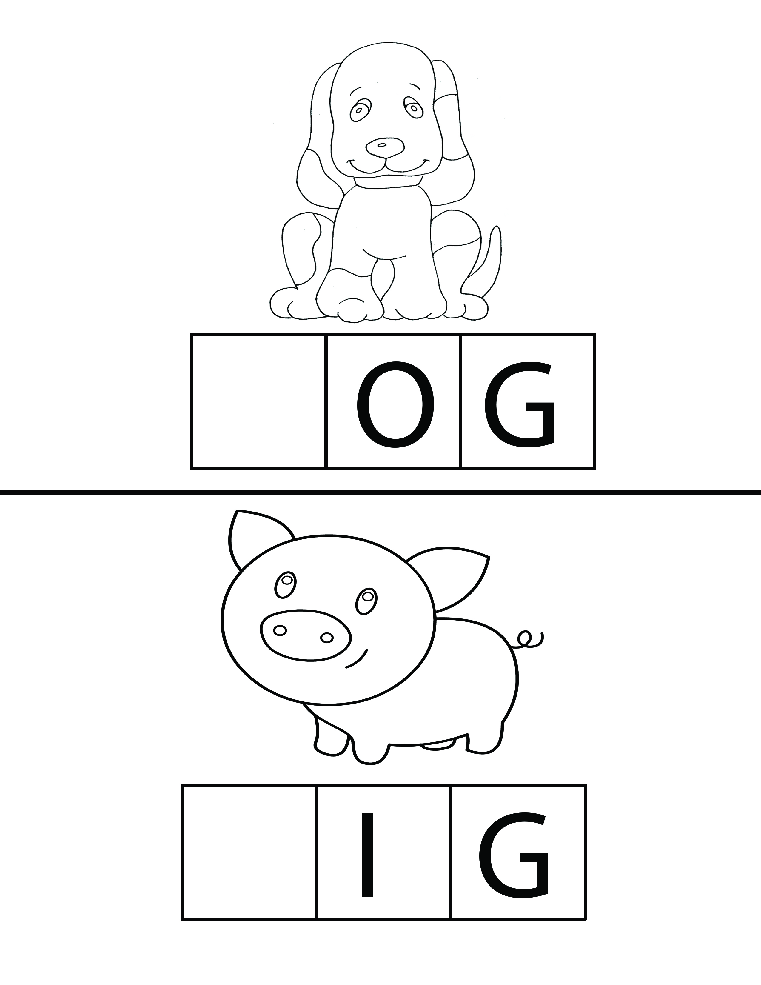 Dog And Pig Spelling Worksheets