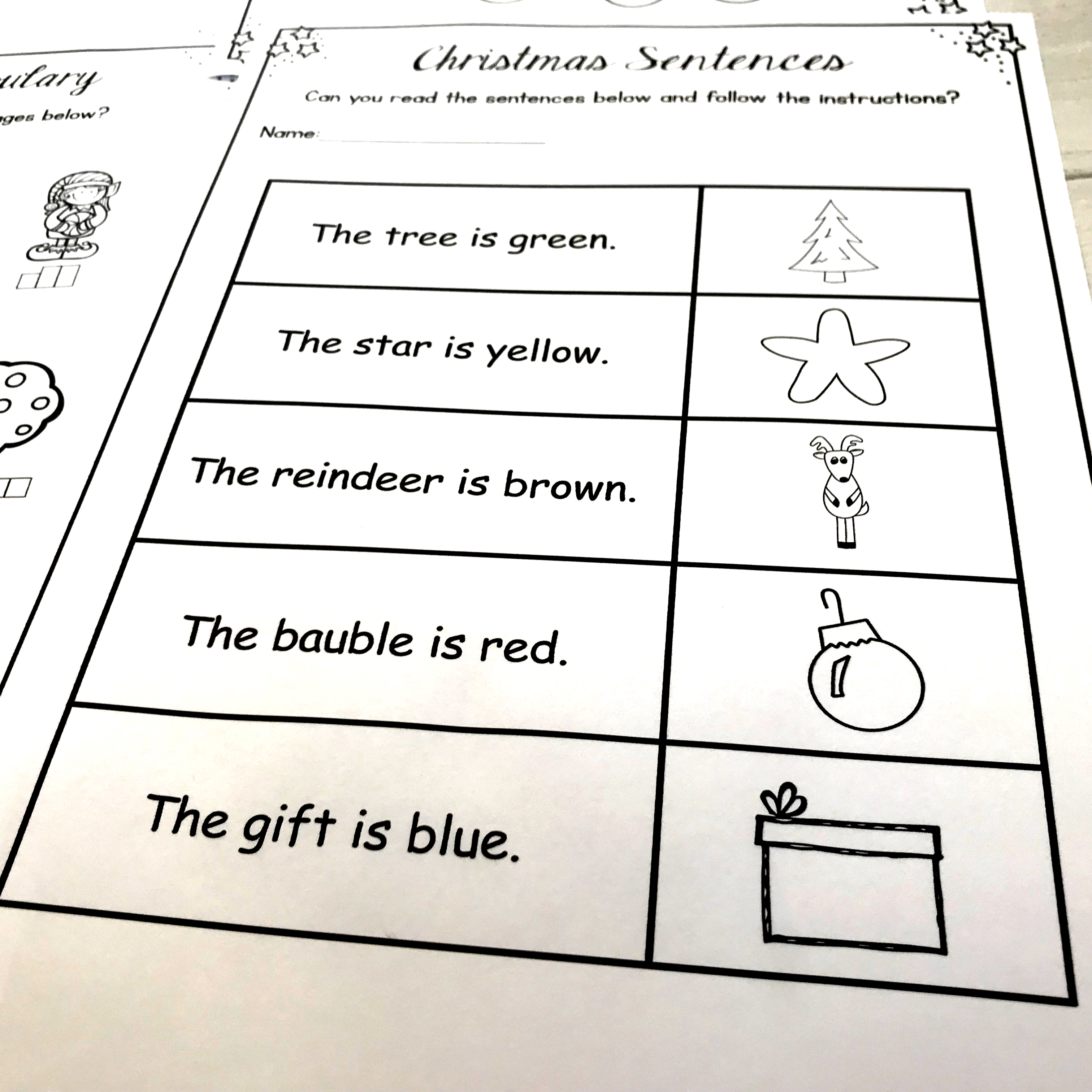 Christmas Activities Literacy Worksheets No Prep