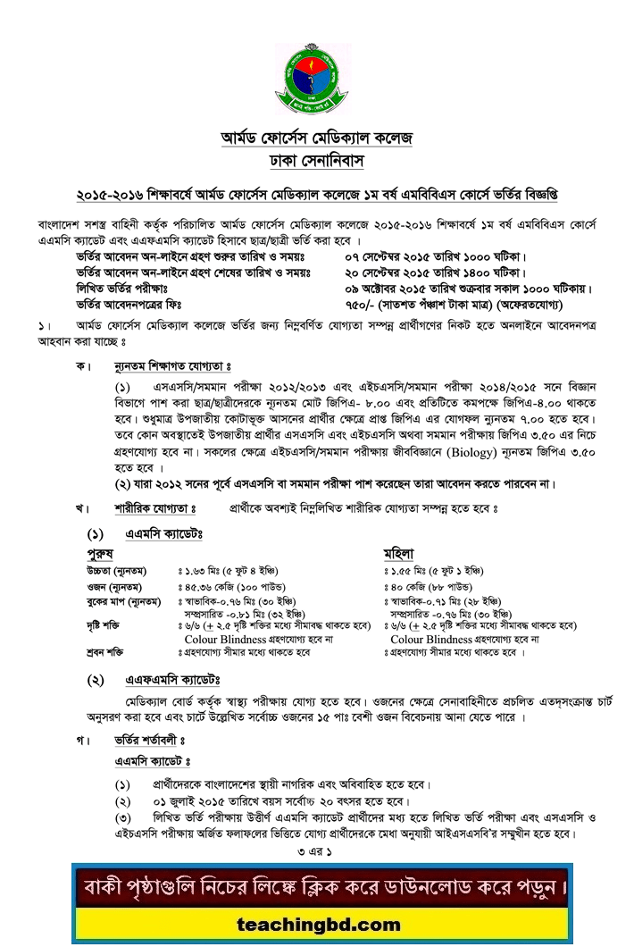 Armed Forces Medical College Admission 2015