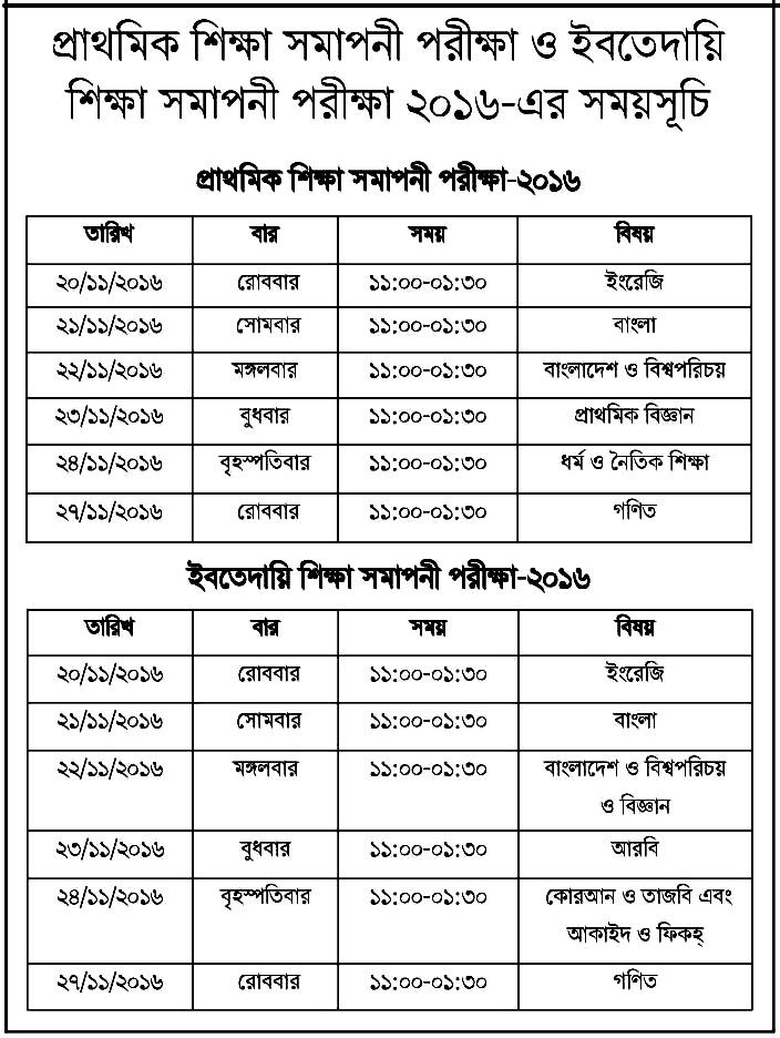 PSC Exam Routine 2016 Primary Education Board www.dpe.gov.bd