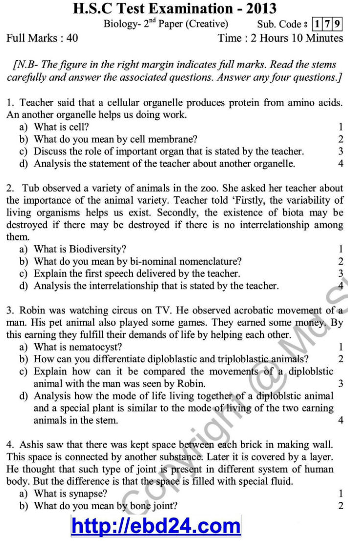 Biology English Version Suggestion and Question Patterns of HSC Examination 2014 (1)