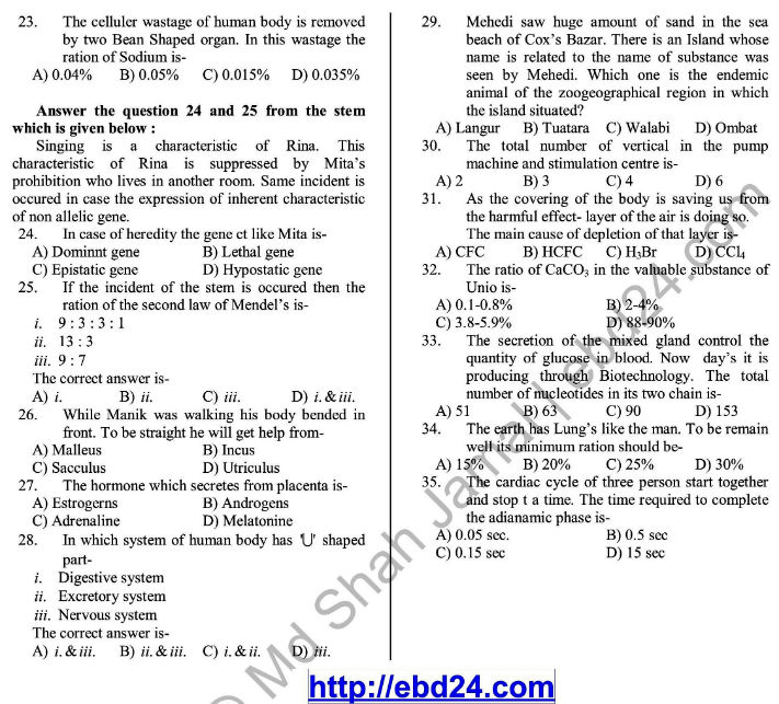 Biology English Version Suggestion and Question Patterns of HSC Examination 2014 (4)