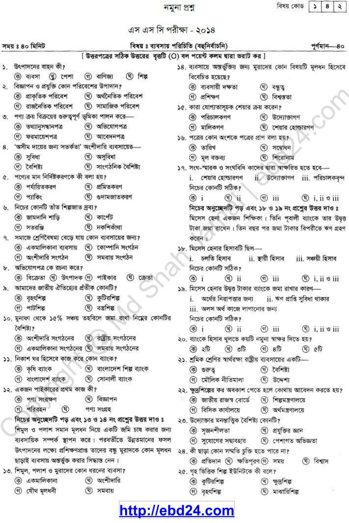 Business Introduction Suggestion and Question Patterns of SSC Examination 2014 (4)
