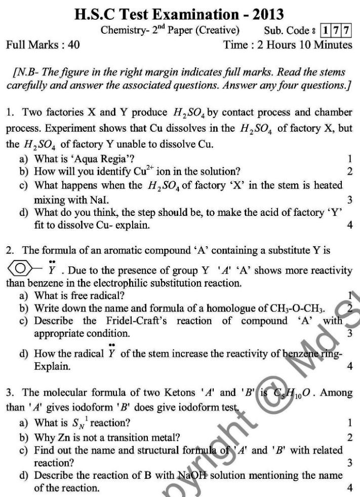 Chemistry- English Version-2nd Exam 2014 (1)