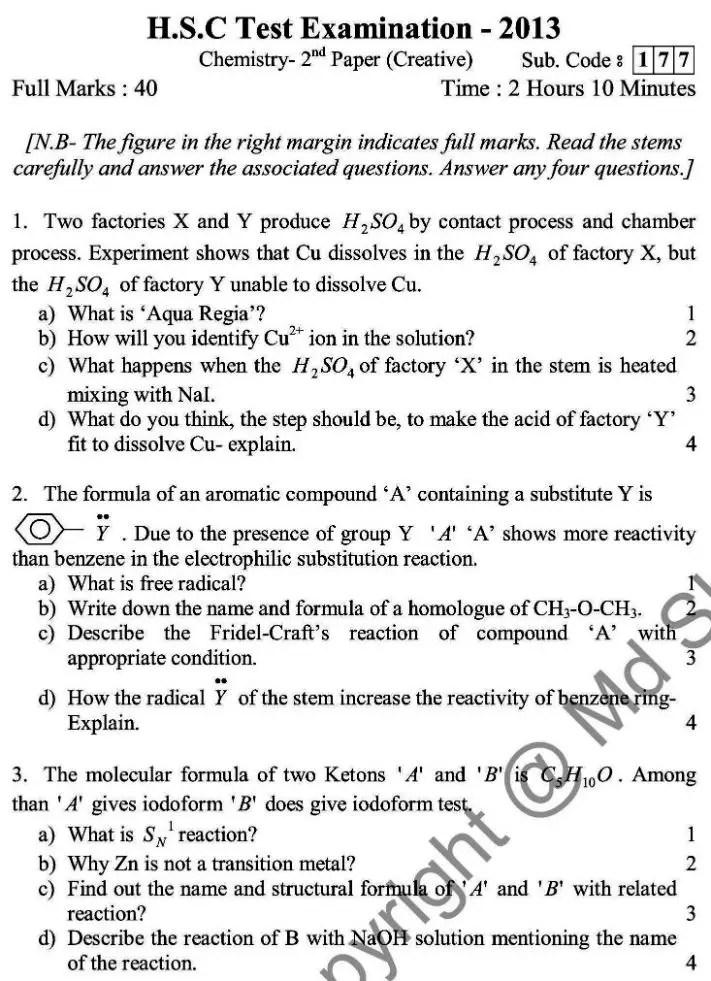 Chemistry- English Version-2nd Exam 2014 (1)