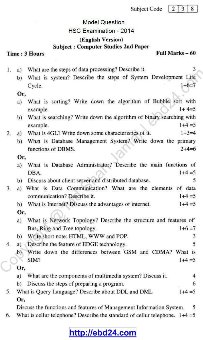 Computer Study Suggestion and Question Patterns of HSC Examination 2014 (1)
