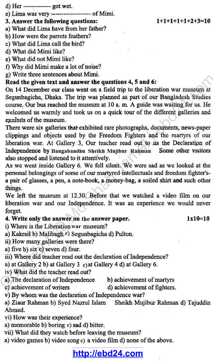 English Suggestion and Question Patterns of PSC Examination 2013 (2)