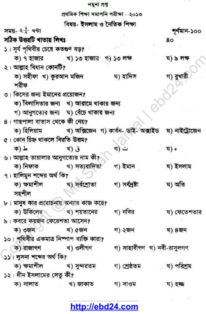 Religion Suggestion and Question Patterns of PSC Examination 2013 (1)