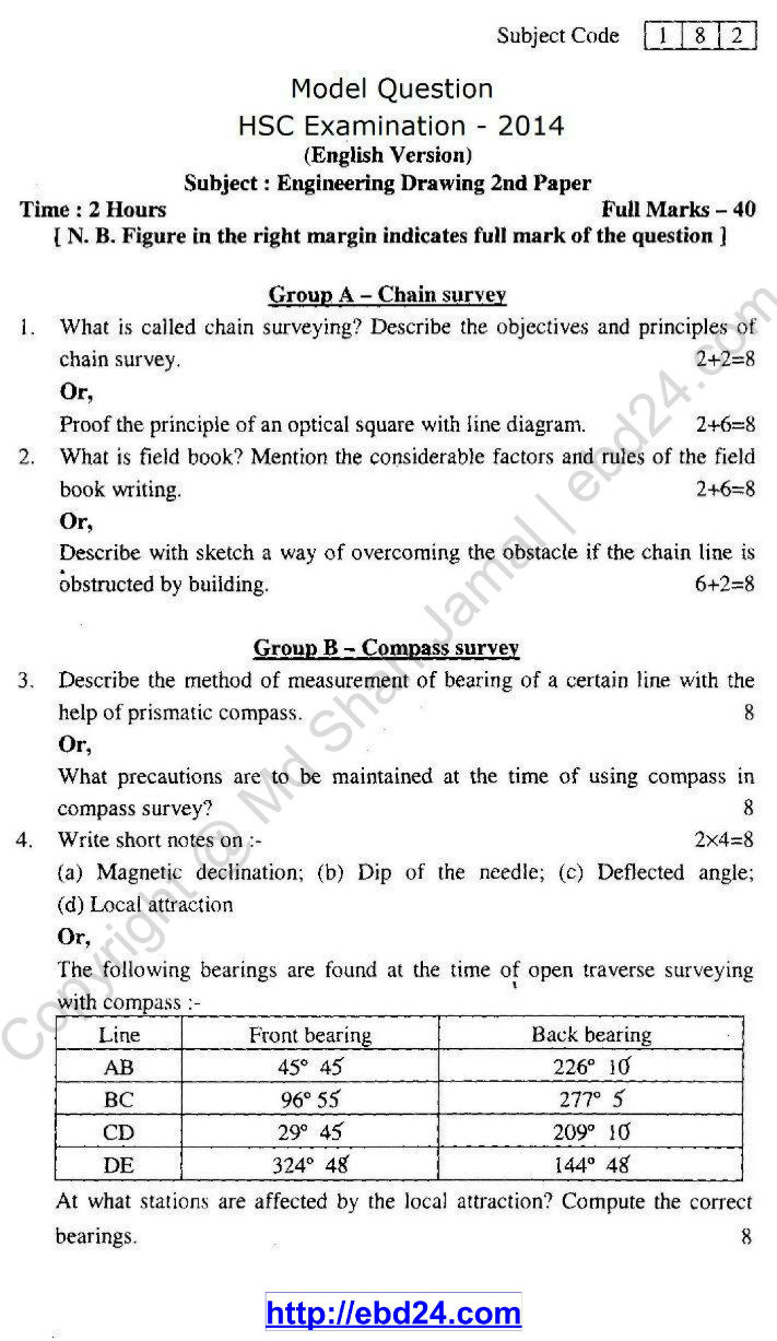 Engineering Drawing EV 2nd paper HSC 2014 (1)