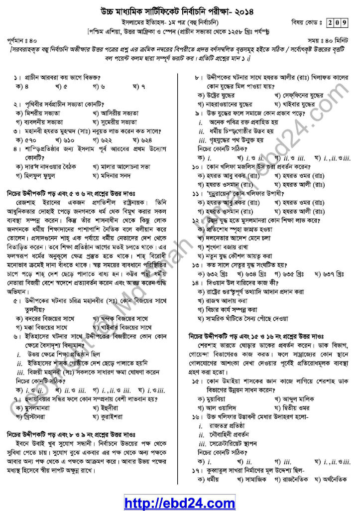 Islamic History- 1st HSC Suggestion and Question Pattern of Examination 2014 (4)