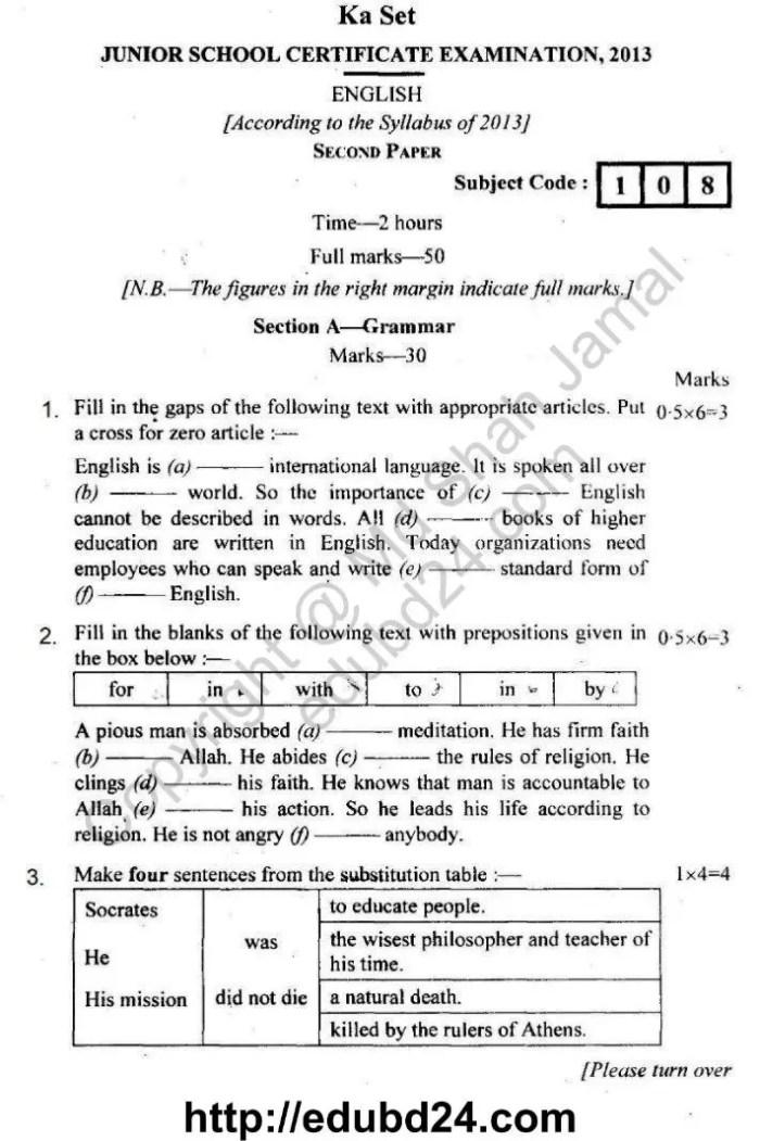 JSC English 2nd Paper