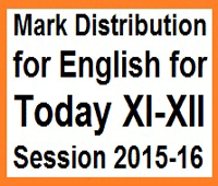 Mark Distribution for English for Today XI-XII Session 2015-16