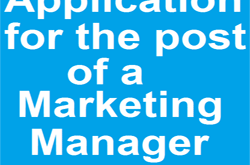 Application for the post of a Marketing Manager
