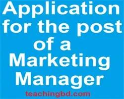 ApplicationforthepostofaMarketingManager