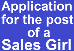 ApplicationforthepostofaSalesGirl