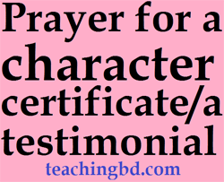 Prayerforacharactercertificateatestimonial