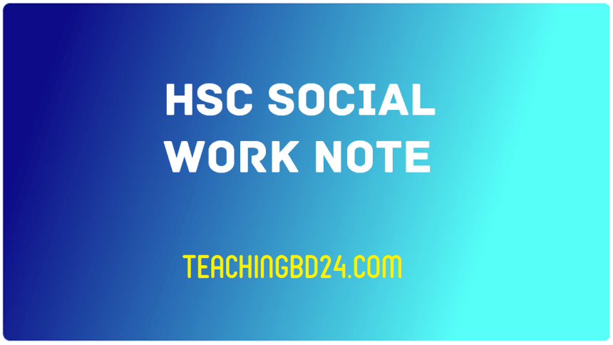 HSC Social Work 2nd Paper 5th Chapter Note