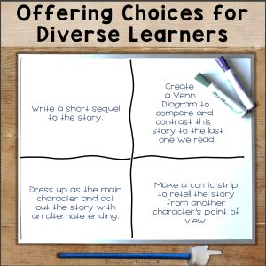 Offering choices for diverse learning. whiteboard with differentiated instruction options