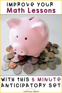 Image: Piggy bank with toys. Text: Improve Your Math Meeting with this 5 minute anticipatory set