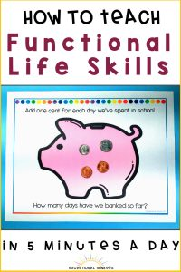 Image: Math resource with piggy bank image with coins on top. Text: How to Teacher functional life skills in 5 minutes a day