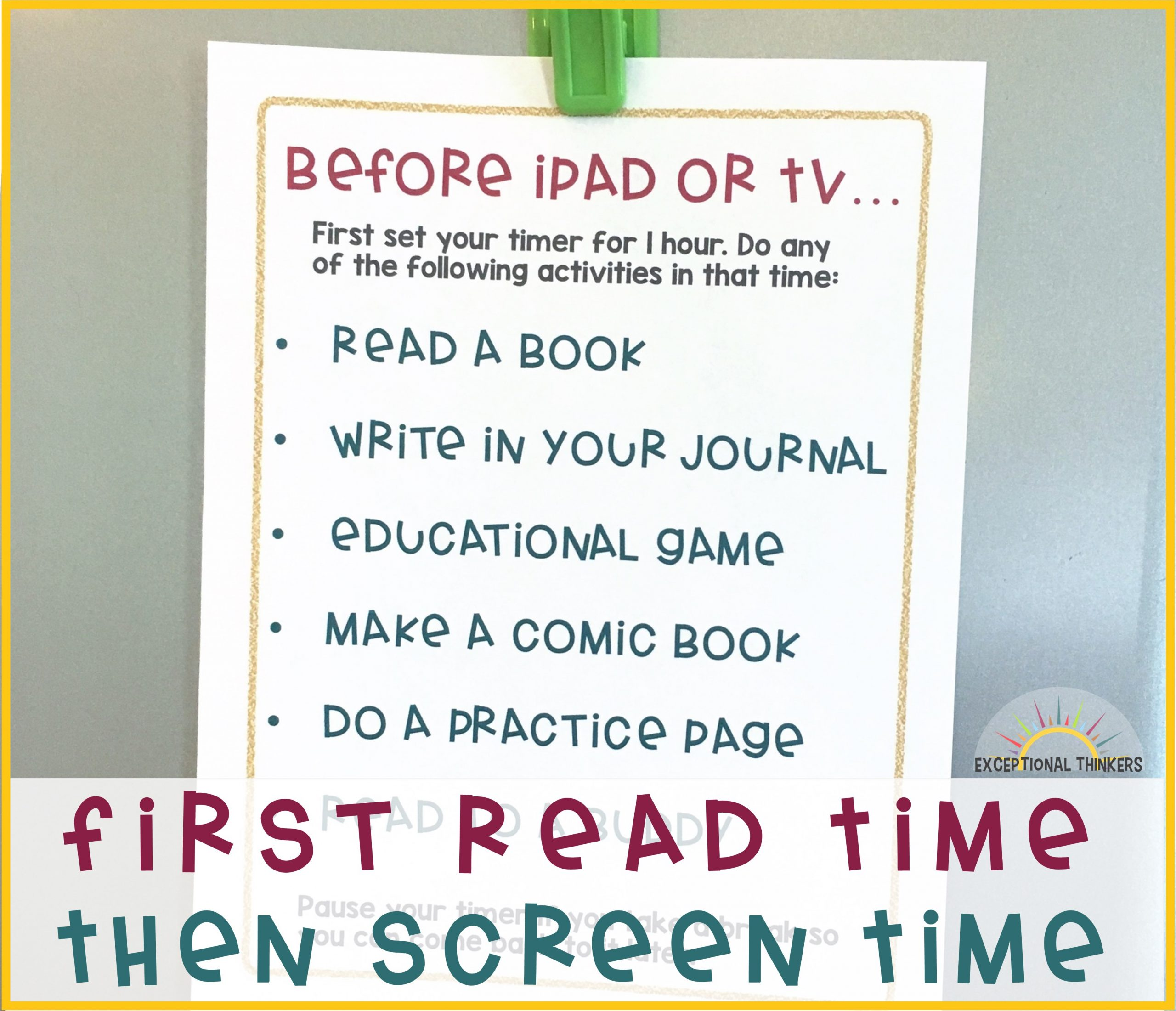 First READ Time, Then SCREEN Time