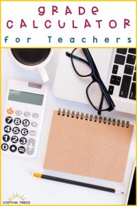 desktop with teacher calculator, notebook, glasses, and other teacher supplies with the title Grade Calculator for teachers