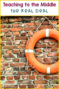 Brick wall with life preserver with text Teaching to the Middle: The Real Deal