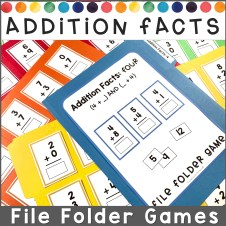 Colorful file folder games for addition facts