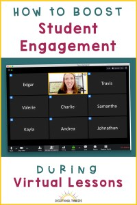 "Image of a virtual lesson with all student cameras off, leaving the teacher speaking to a group of black boxes. Text reads ""How to Boost Student Engagement During Virtual Lessons"""