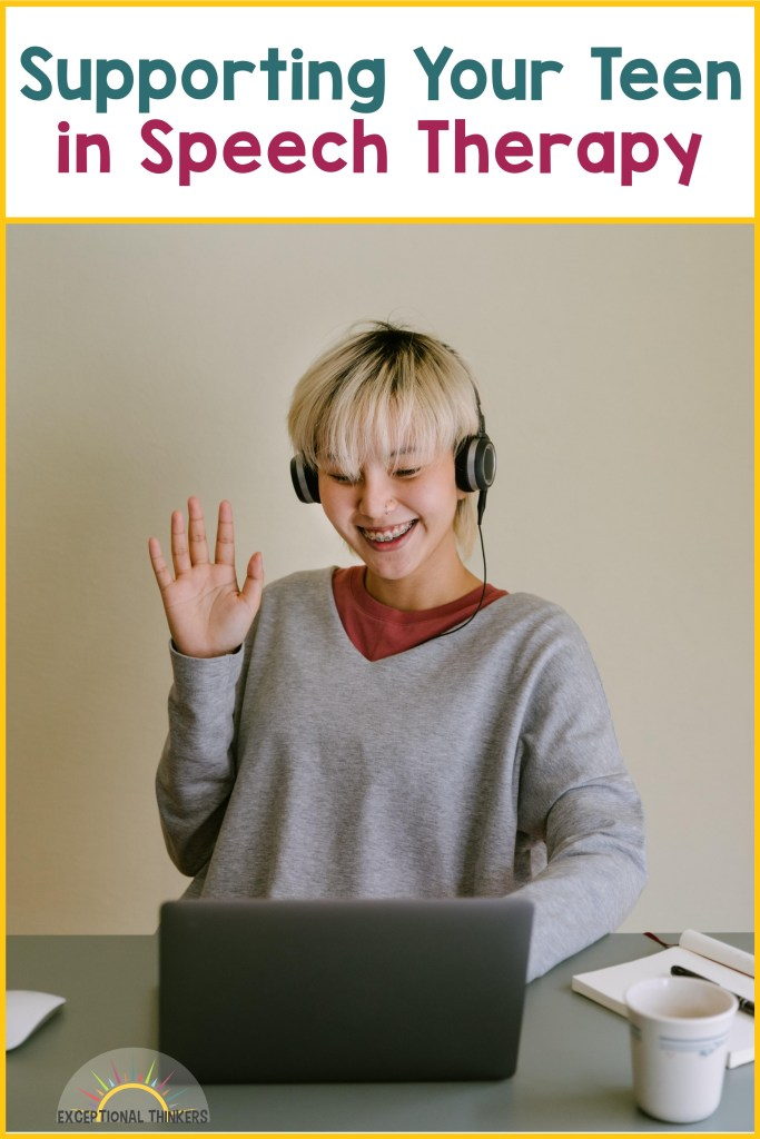 """Teal and purple text at top reads"""" Supporting Your Teen in Speech Therapy."""" Young blonde teen with short hair wearing headphones is waving at a laptop screen showing what virtual sessions look like for teens in speech therapy."""