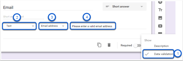 Google Forms Data Validation formatting tips