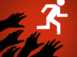 Image of a runner with zombie hands reaching out