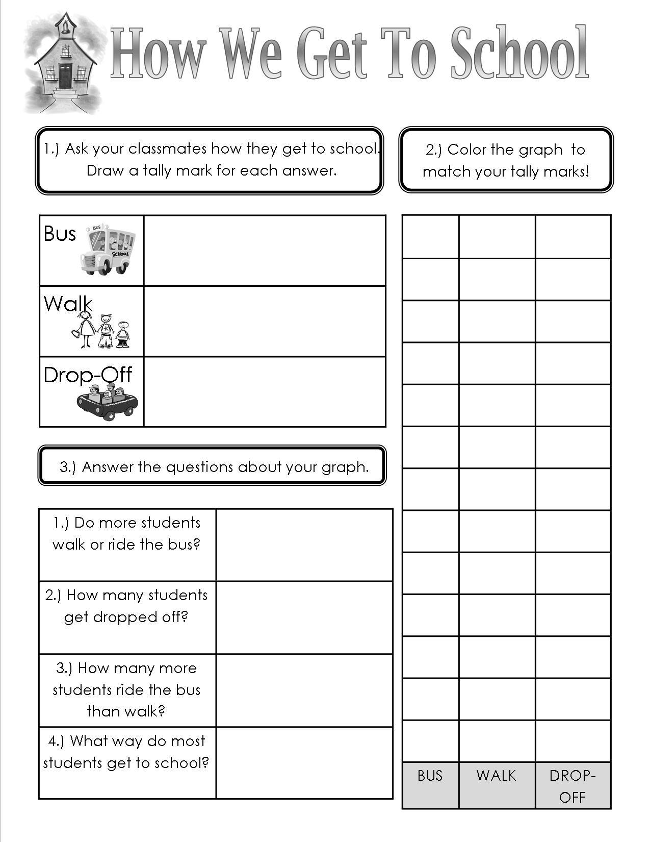 How We Get To School Sheet