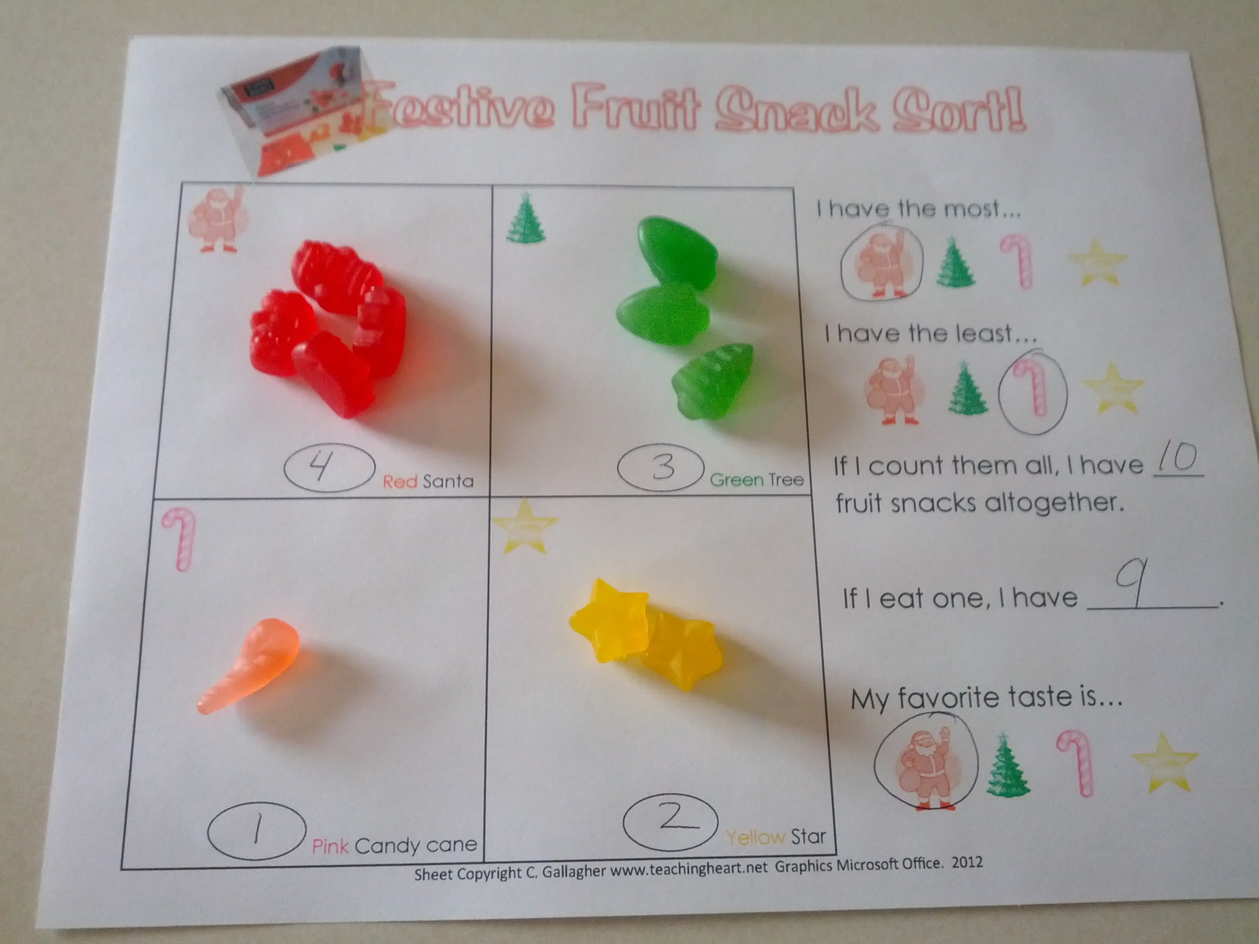 Festive Fruit Snacks Sorting And Graphing Teaching Heart